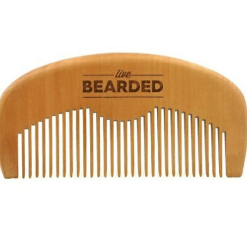 Peach Wood Anti Static Beard Comb