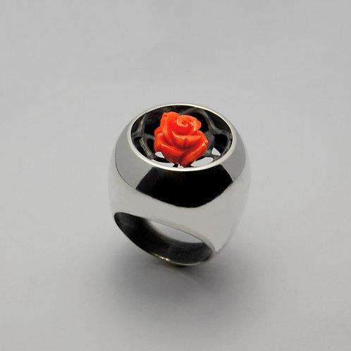bague argent et rose en corail