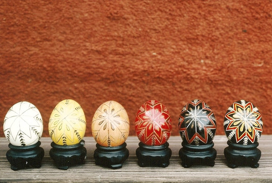 Pysanky are created using the batik, wax-resistence technique