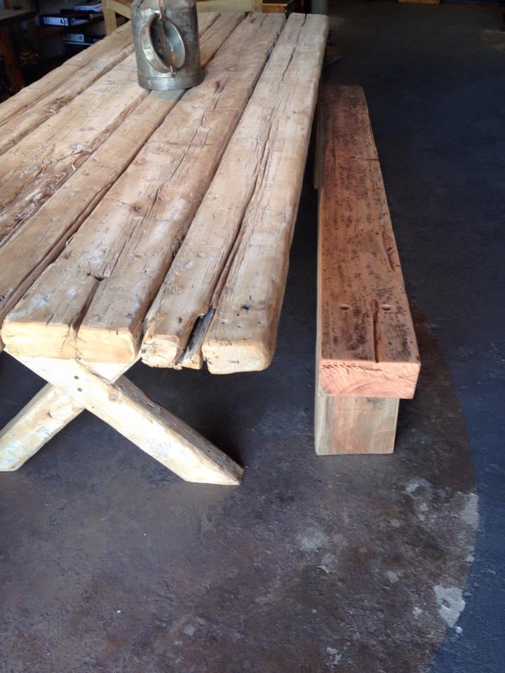Falling rustic tree table.