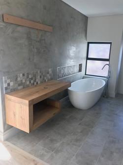 Custom oak vanity unit