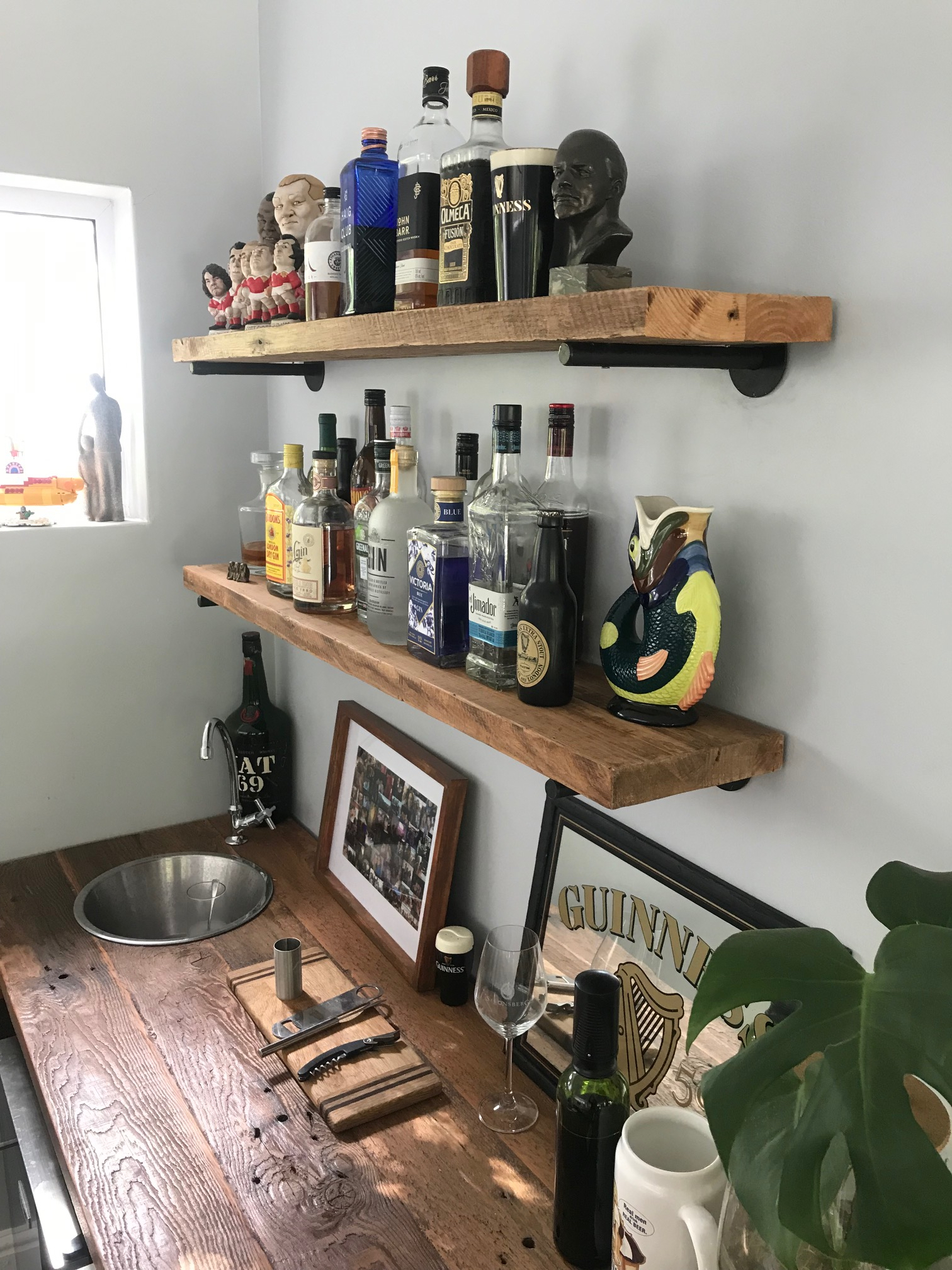 Rustic bar shelves