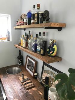 Rustic bar shelves