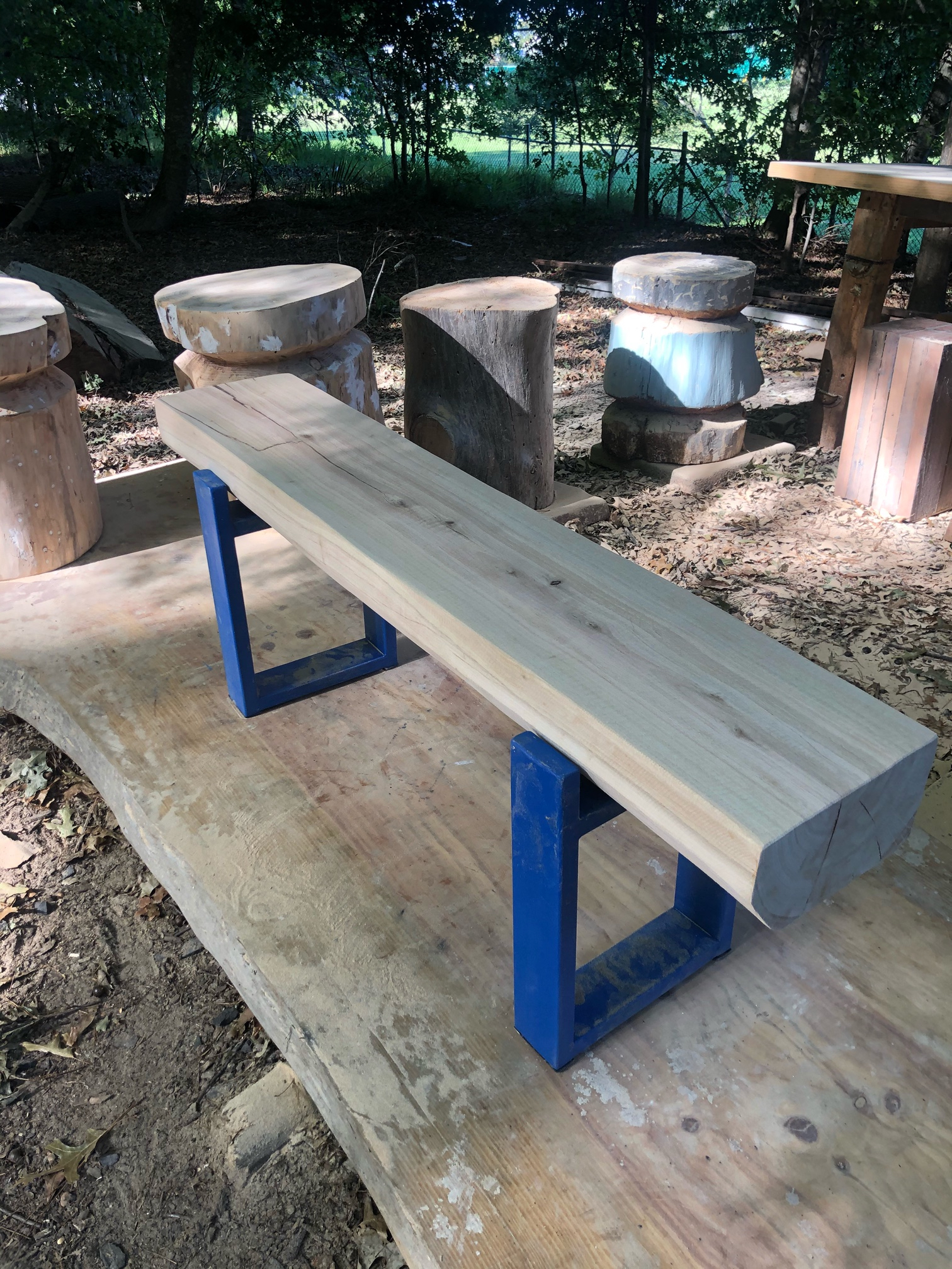 Steel and wood bench