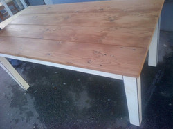 Frenchie recycled table.