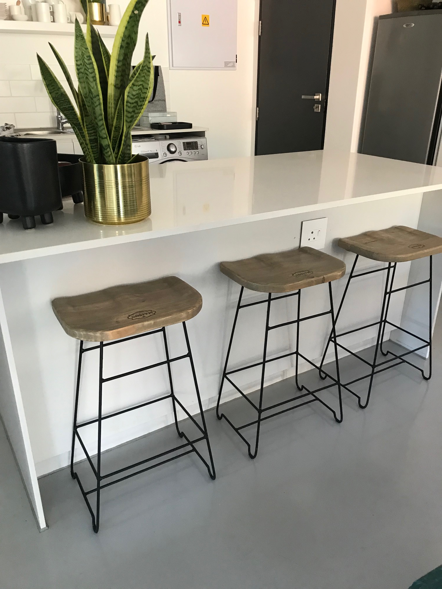 Steel and wood bar stools