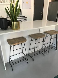 Steel and wood bar stools