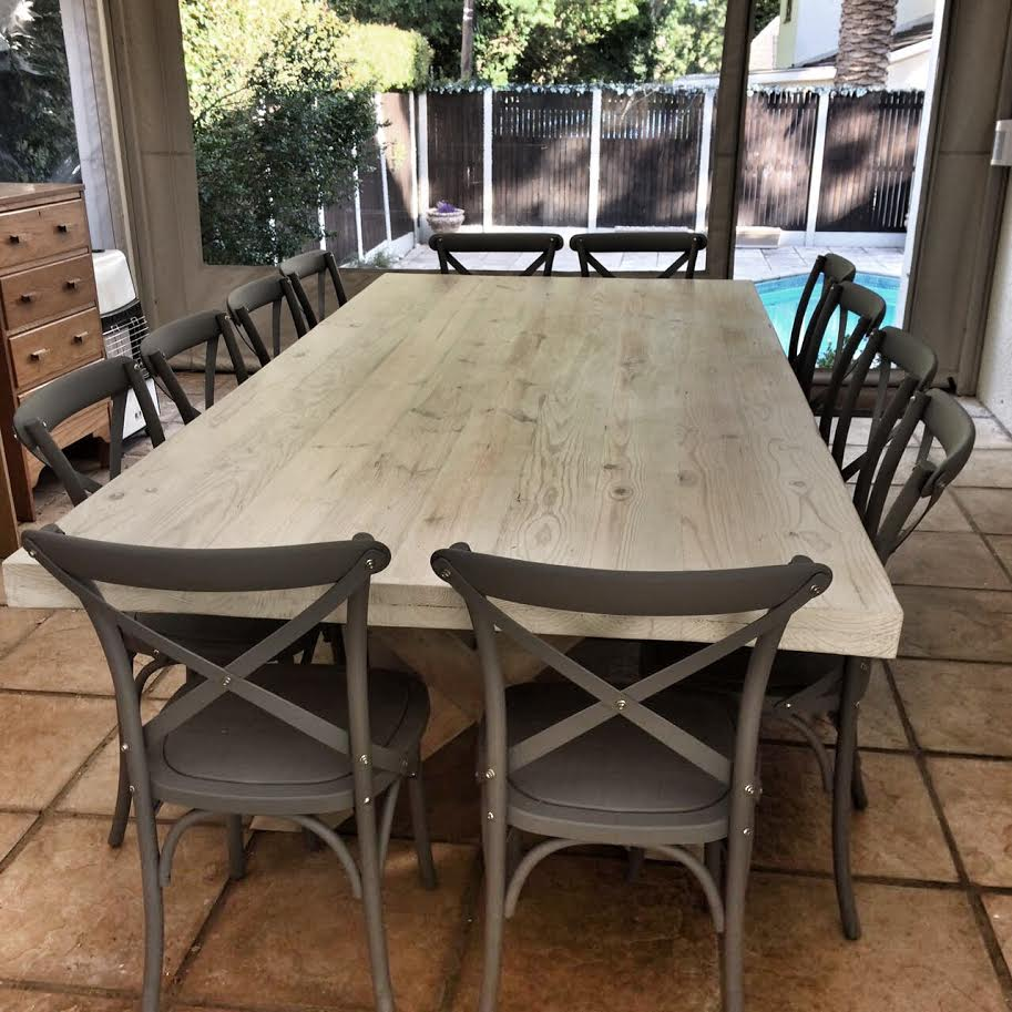 Antique pine outdoor table