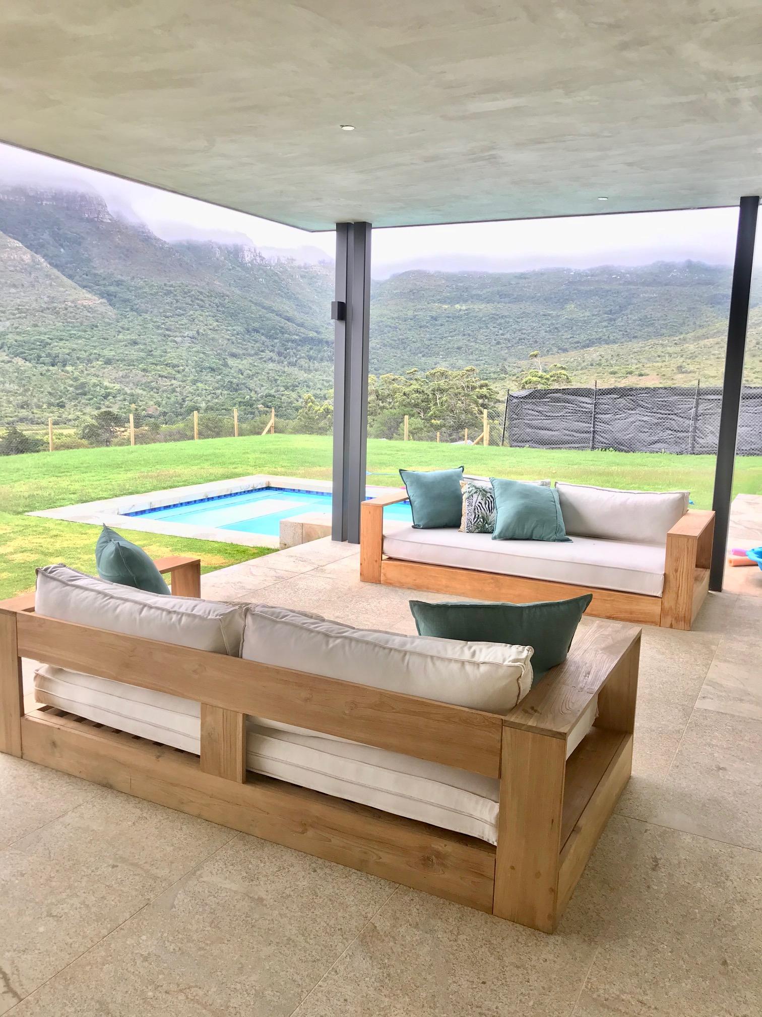 Outdoor couches in teak