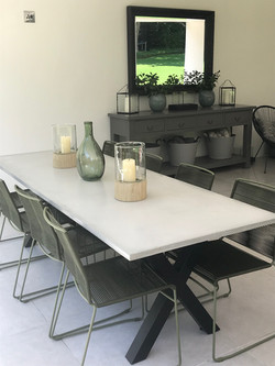 Concrete table and steel legs