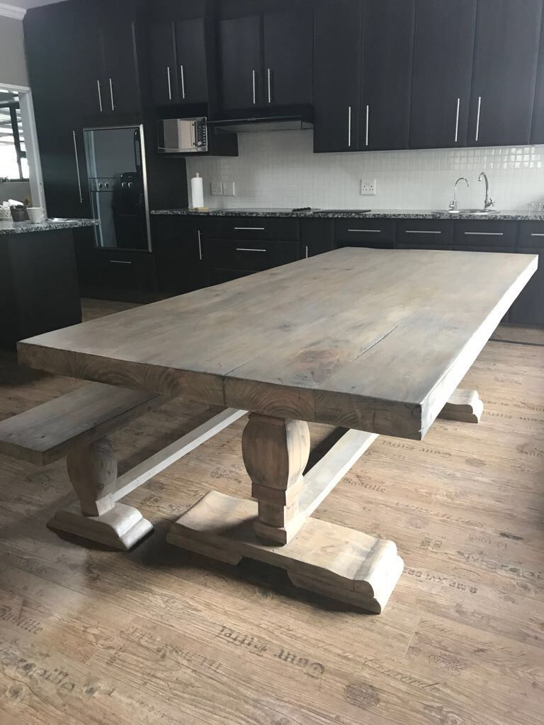 Aged industrial pine pedestal table