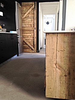 Loft Island with barn door