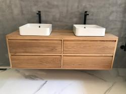Oak vanity unit