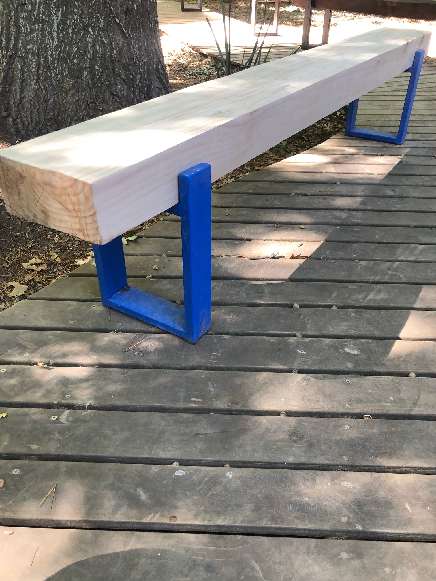 Outdoor industrial steel bench