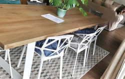 Oak and steel table.