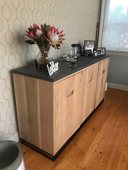 Oak and cement server