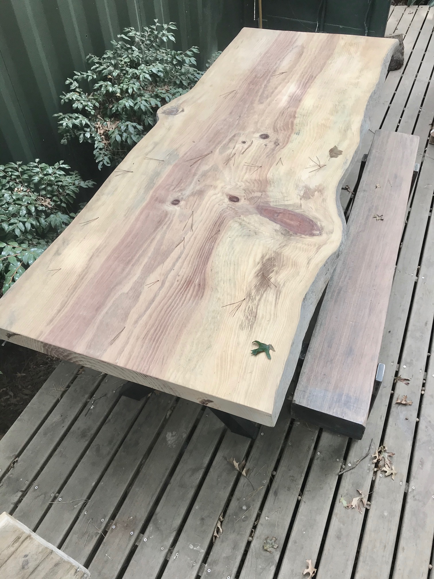 Live edge table and industrial bench
