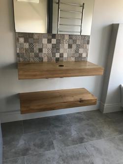 Oak floating vanity shelves