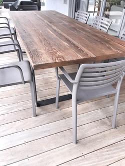 Outdoor industrial pine table