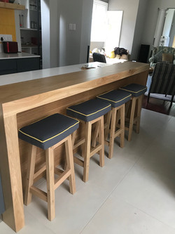 Oak bar stools with fabric