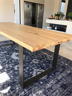 Oak and steel dining room table