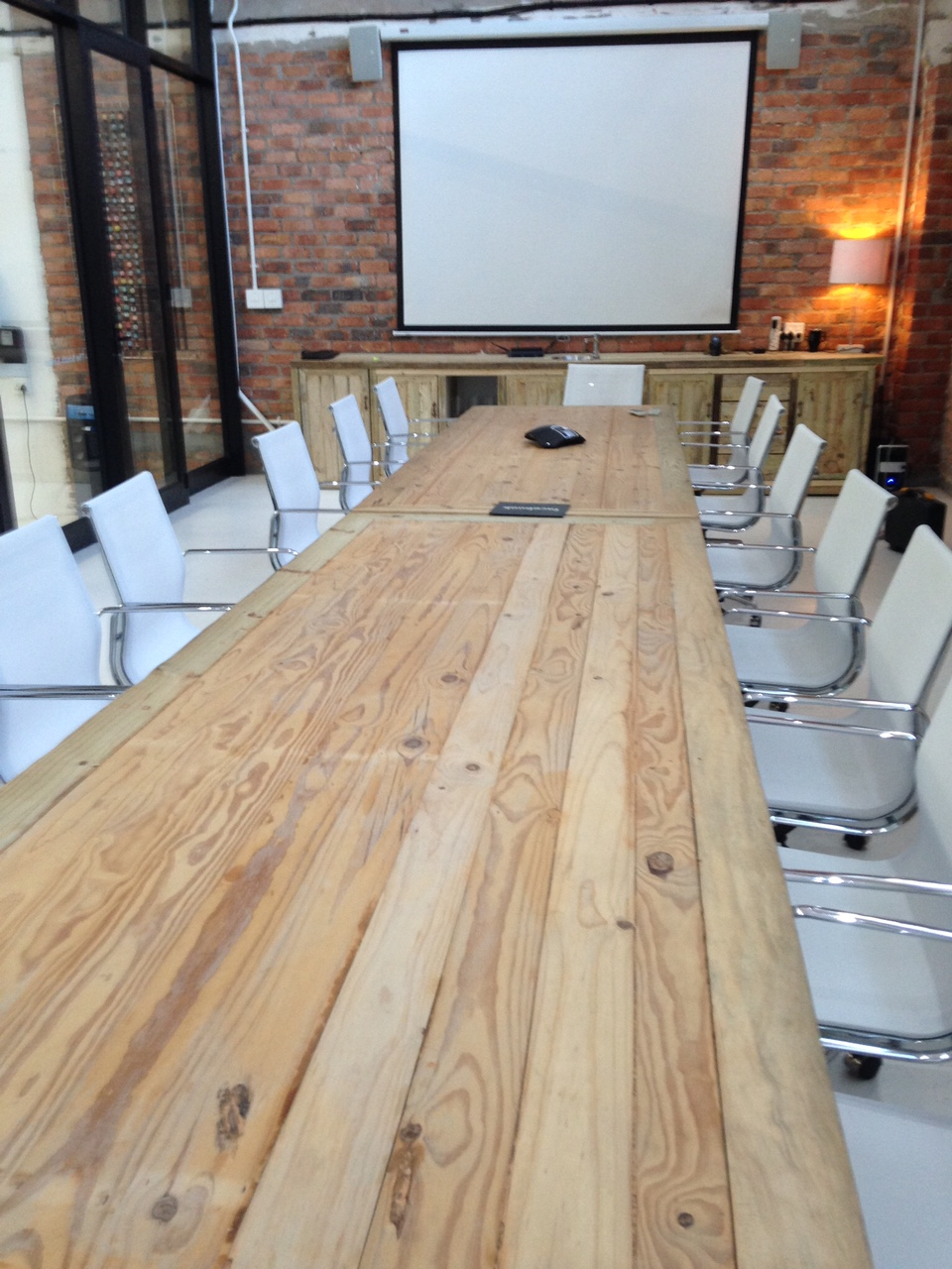 Antique pine boardroom table
