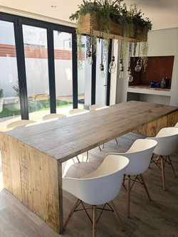 Industrial pine dining room table