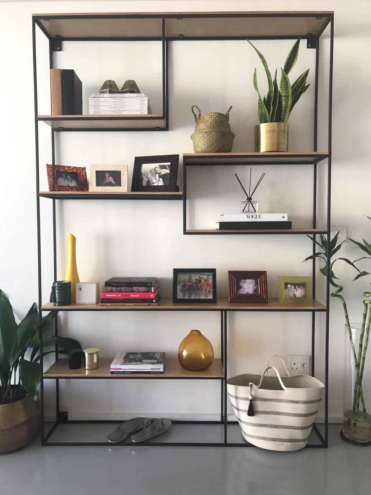 Steel and wood shelving. Living area