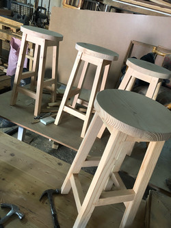 Kitchen island button stools