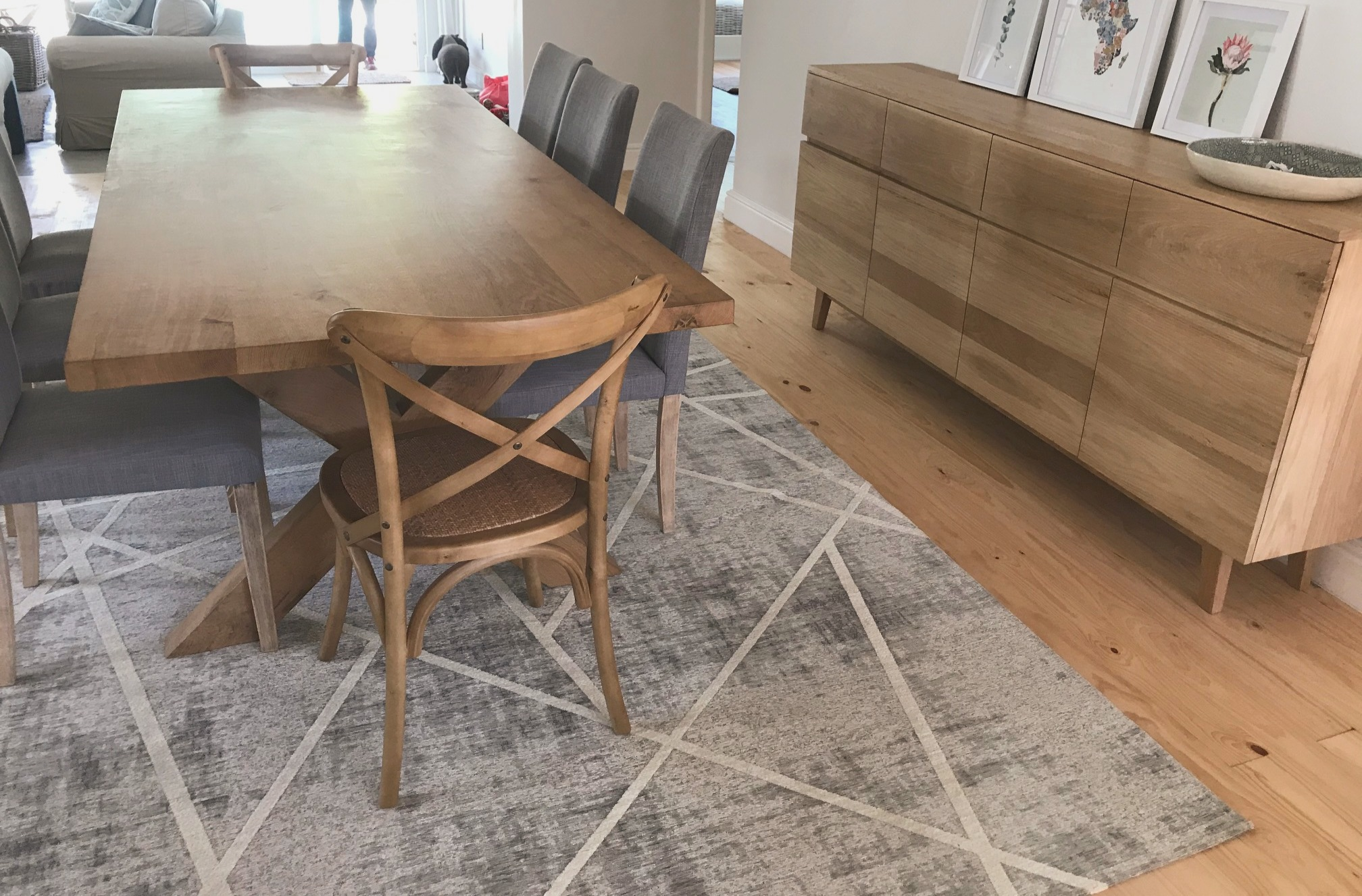 French oak table and server