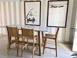 High seater table in stone and oak