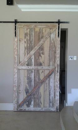 Rustic salmon barn door