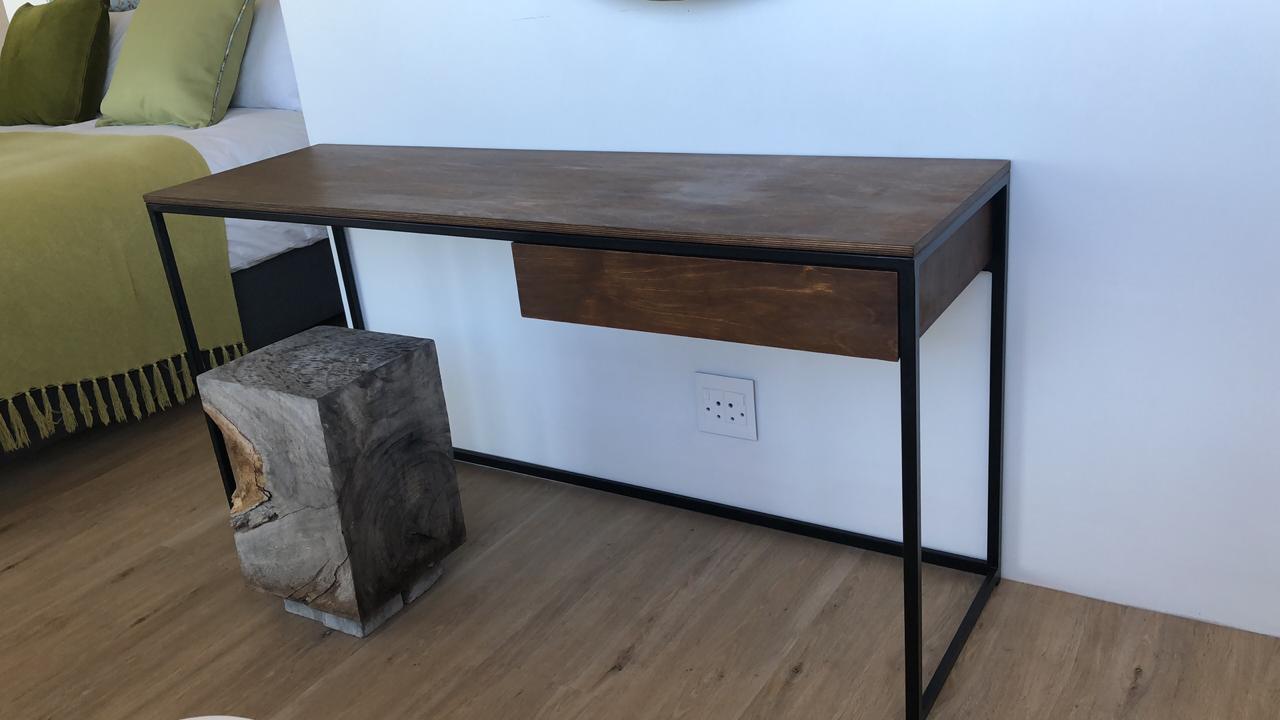 Office desk in oak and steel