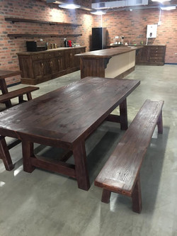 Cafe tables and benches