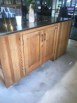 Kitchen island with stainless steel.