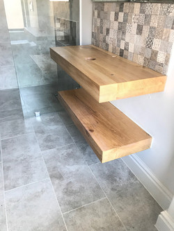 Oak vanity shelves