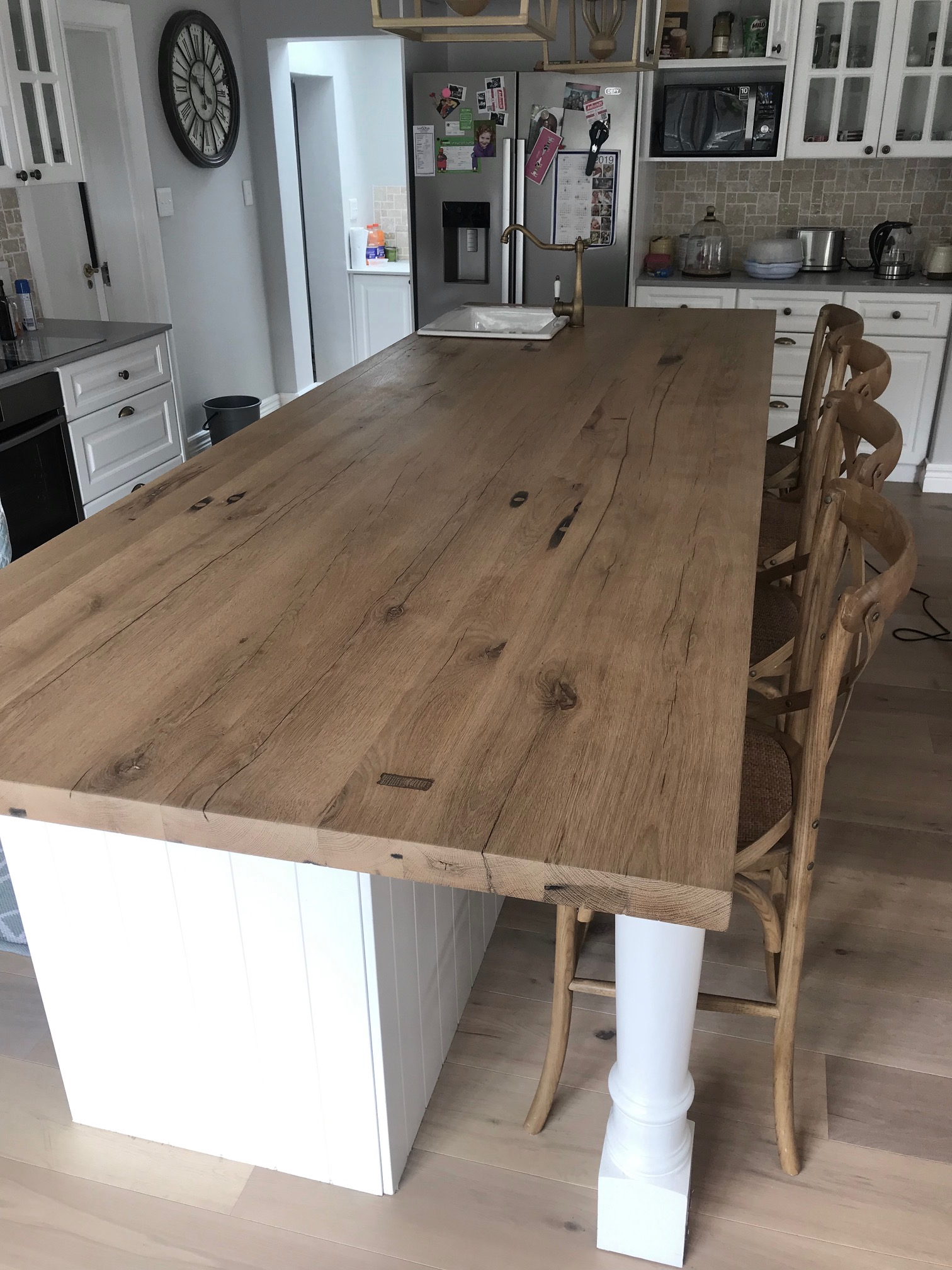Kitchen island in recycled oak
