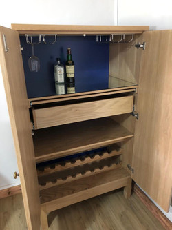French Oak liquor cabinet with pull-