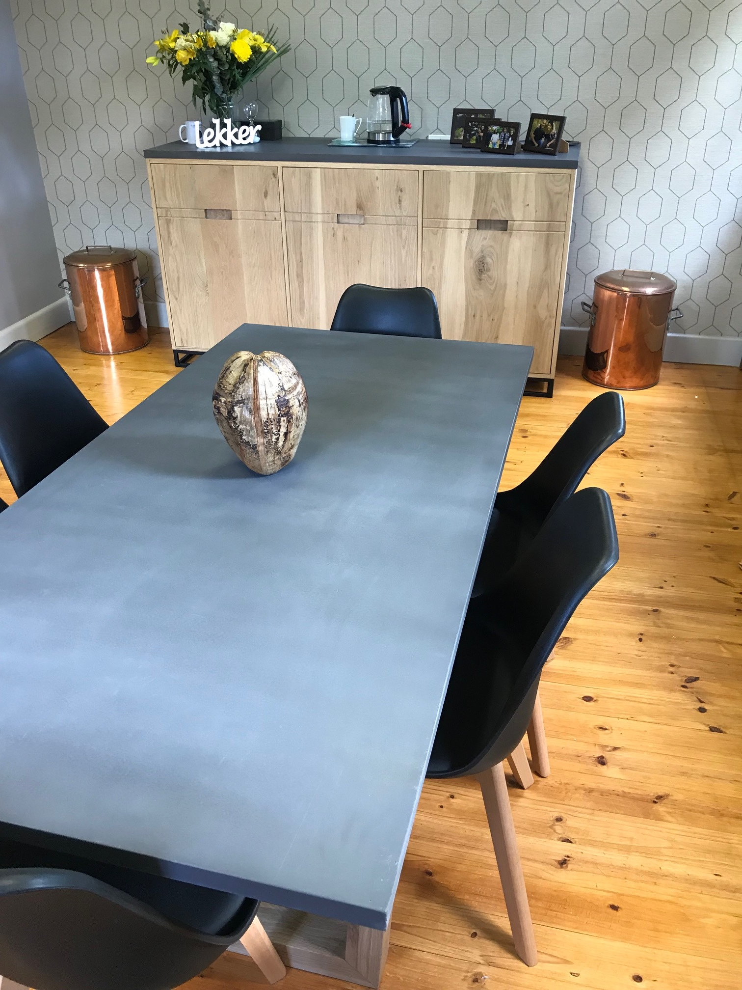 Cement top table and oak server.