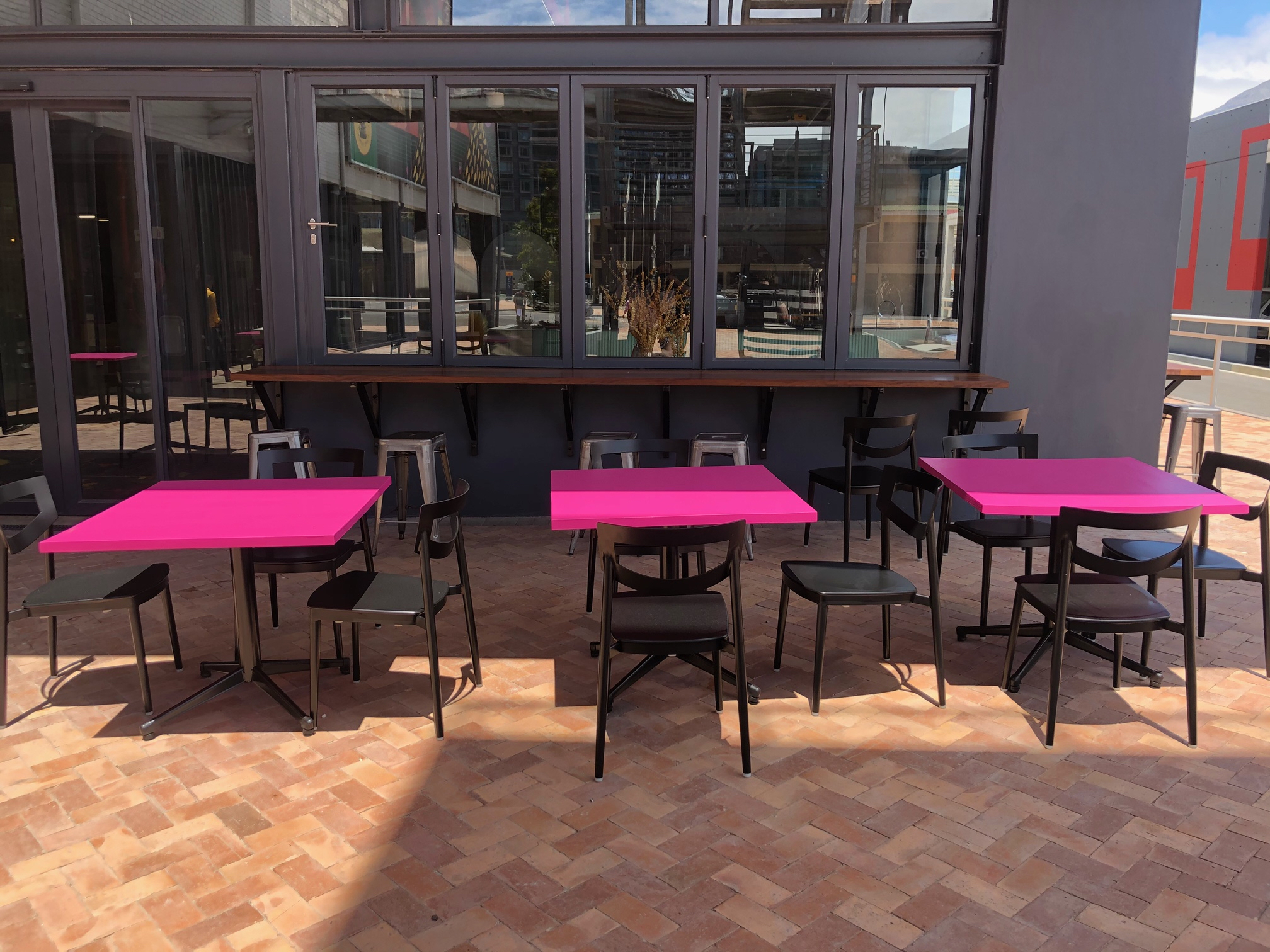 Cafe style tables for Waterfront