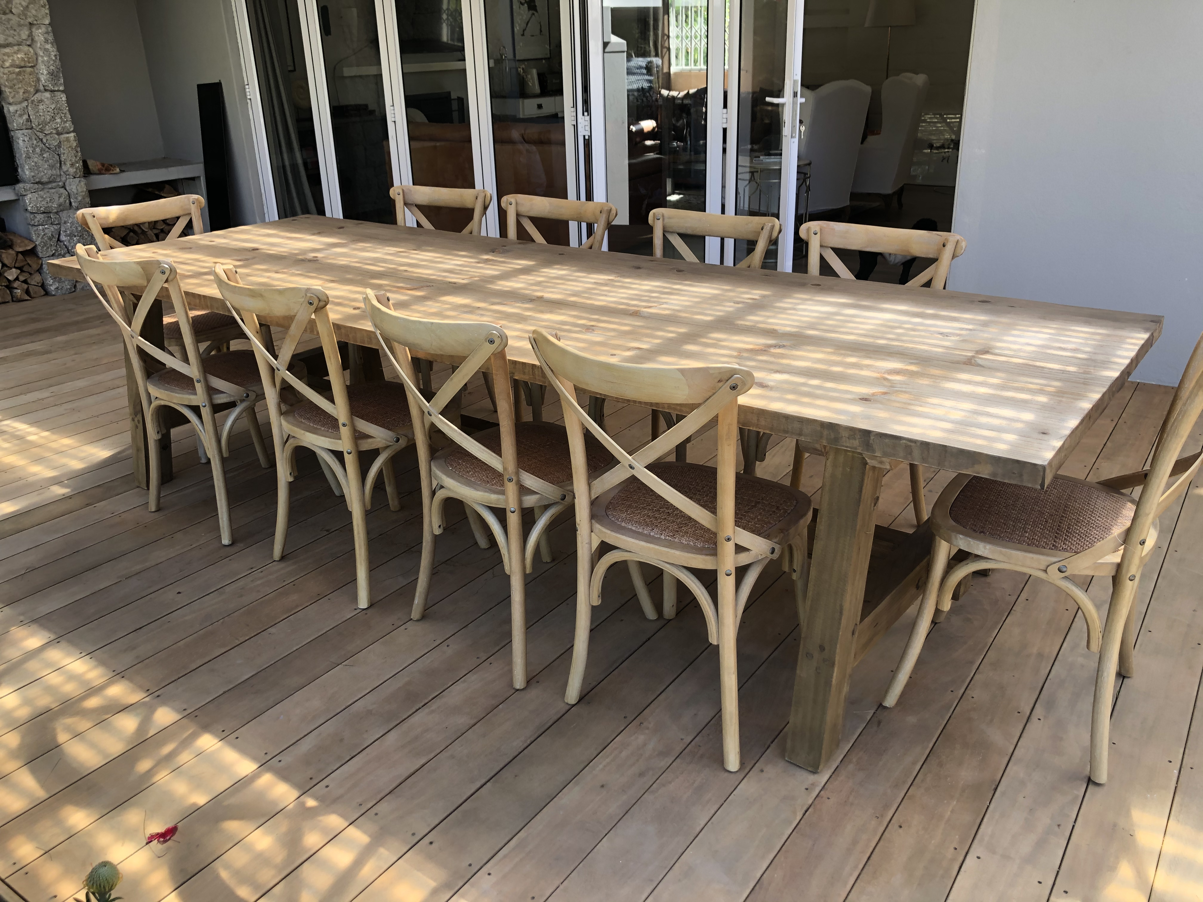 Outdoor industrial pine table