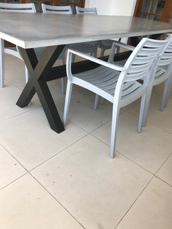 Cement outdoor table.