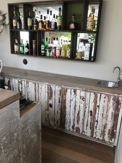 Home bar in recycled pine.