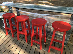 Red button island stools