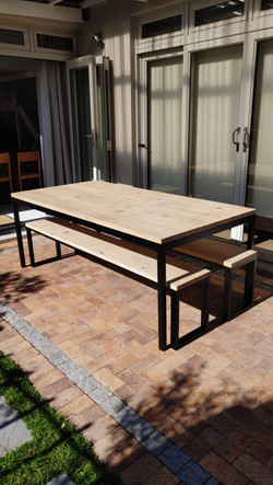 Steel and wood outdoor table