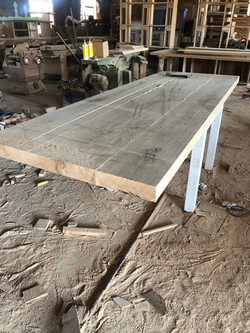 Oak dining room table in making