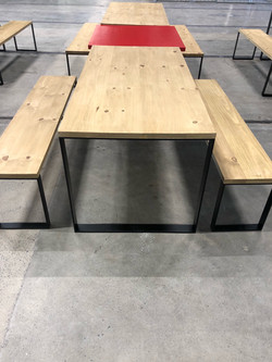 Table and benches in steel and wood