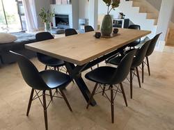 Steel legs dining room table