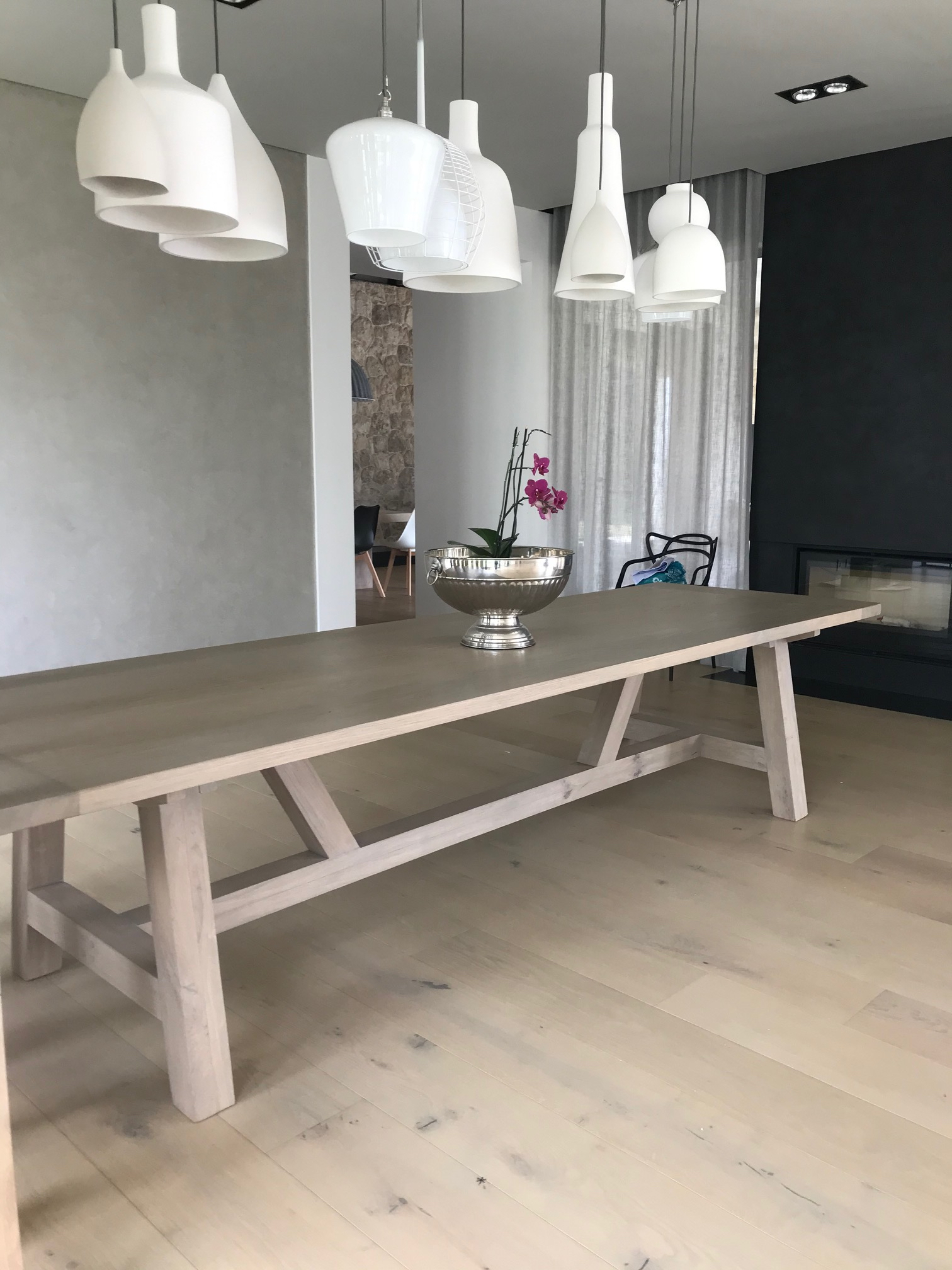 Solid French oak dining room table
