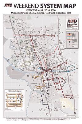Mapa de servicios de fin de semana de RTD
